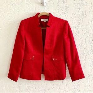 Tahari ASL Hook Front Mandarin Collar Jacket 12P